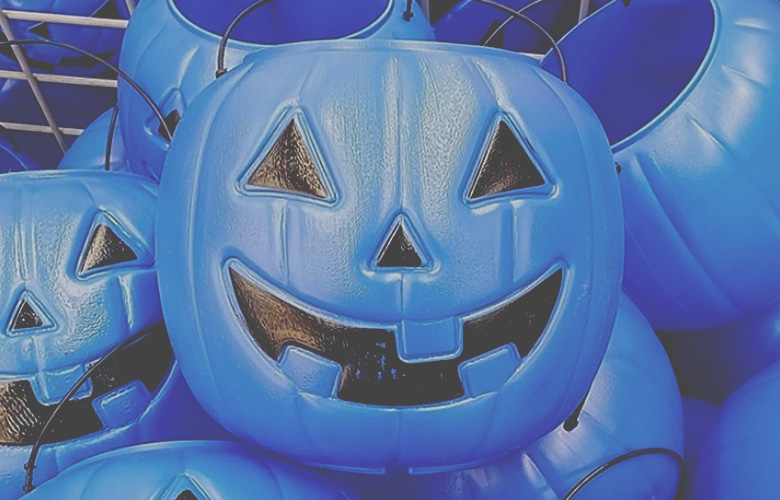 Blue Halloween Buckets to Help Children with Autism